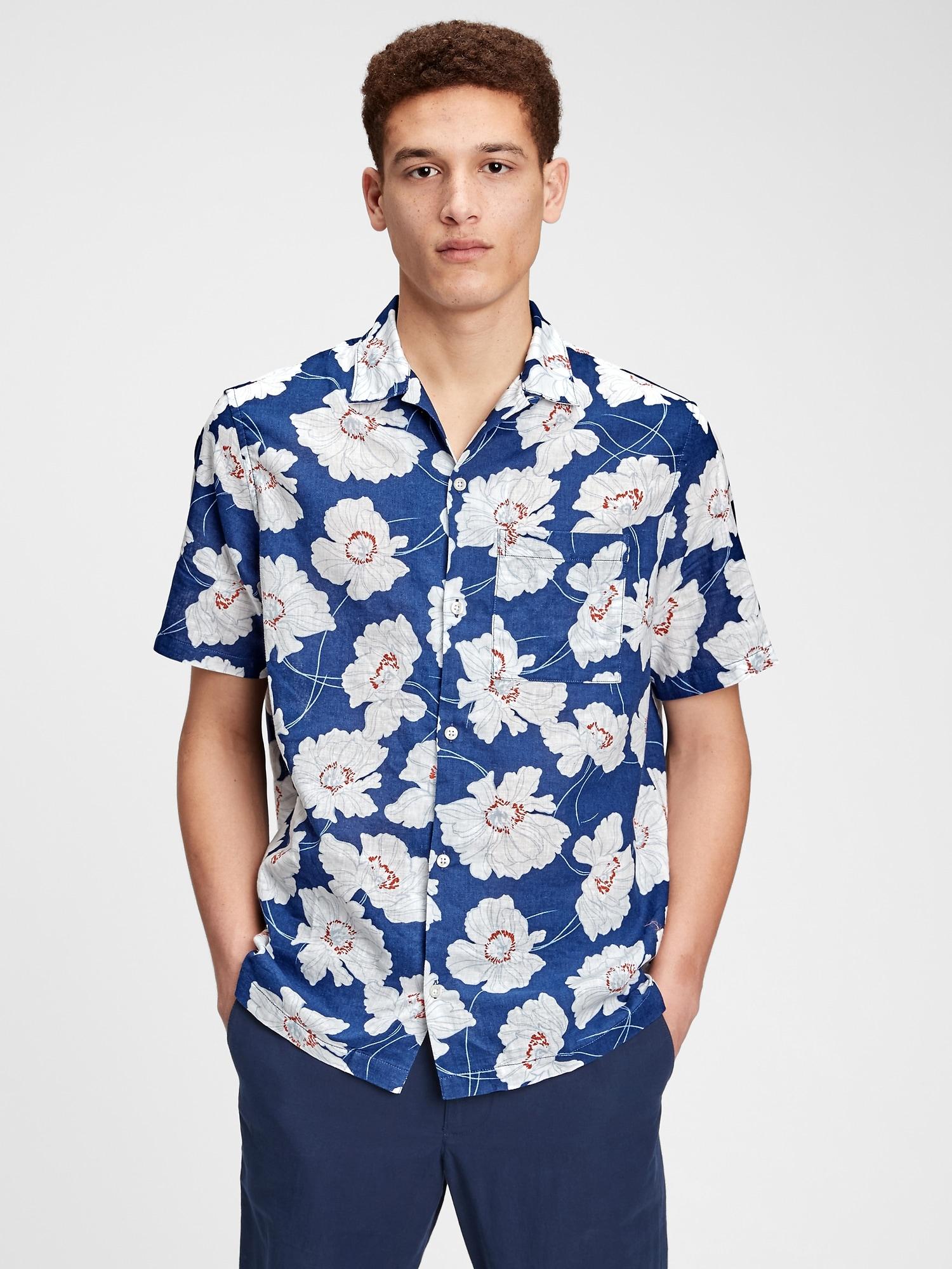 ボタンフロント  プリントシャツ