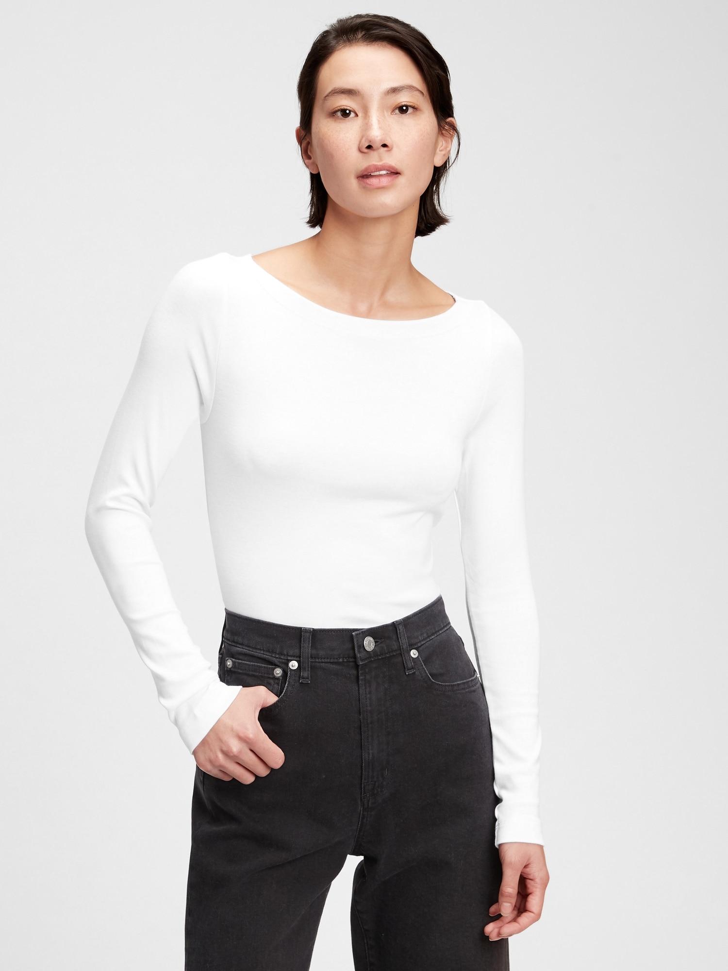モダン ボートネックtシャツ