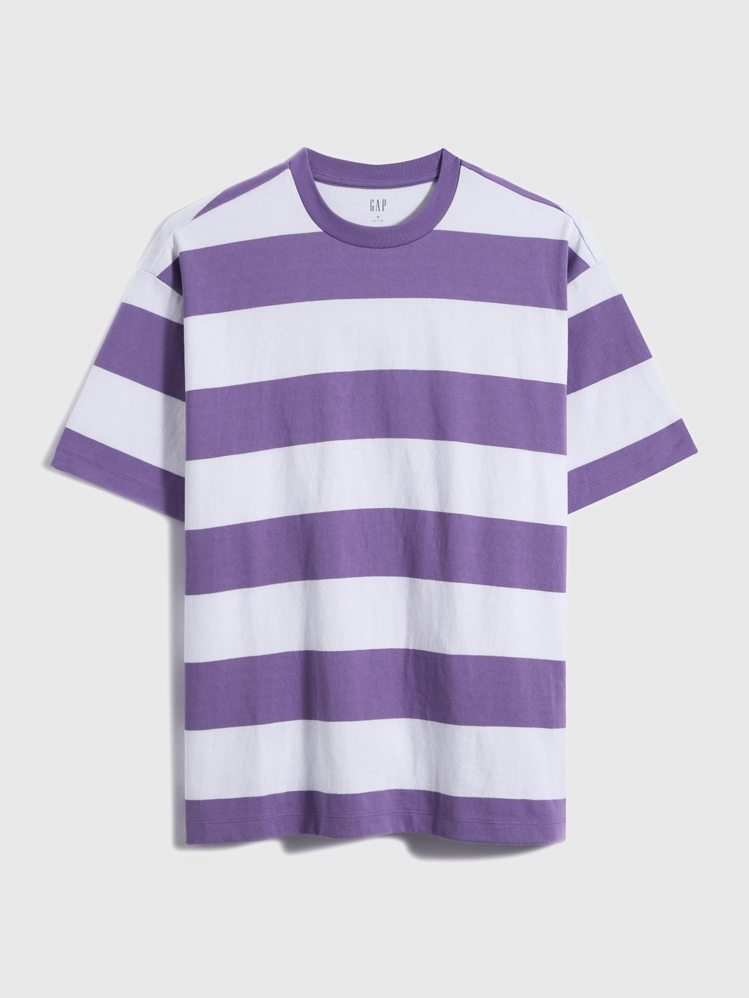 ストライプクルーネックtシャツ