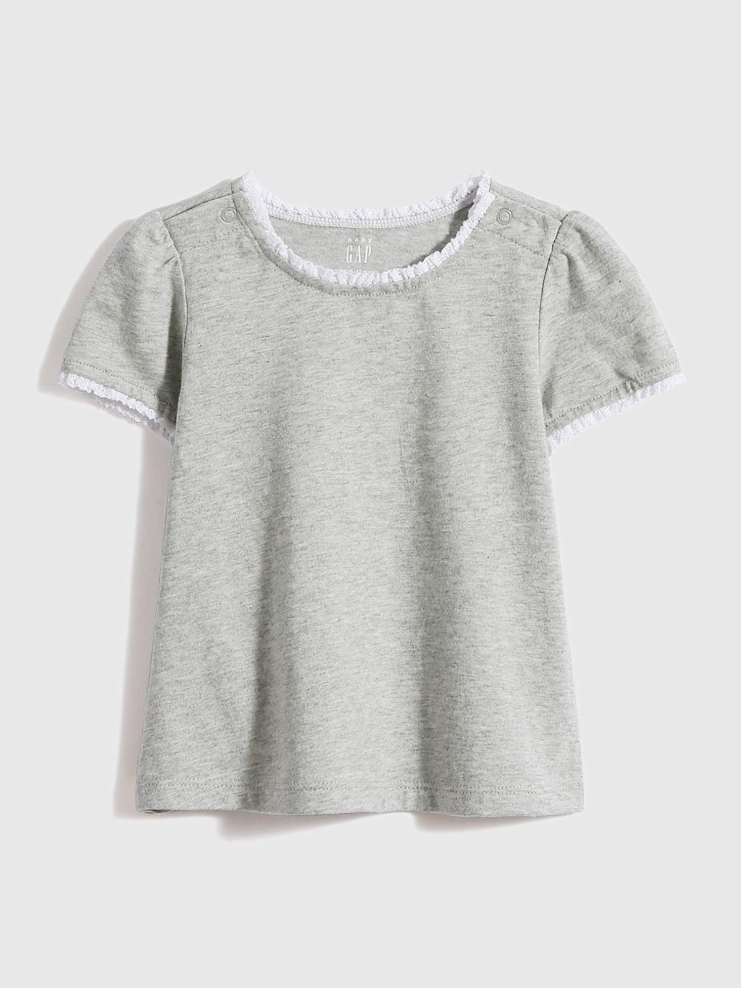 レースディテール付き コットンtシャツ