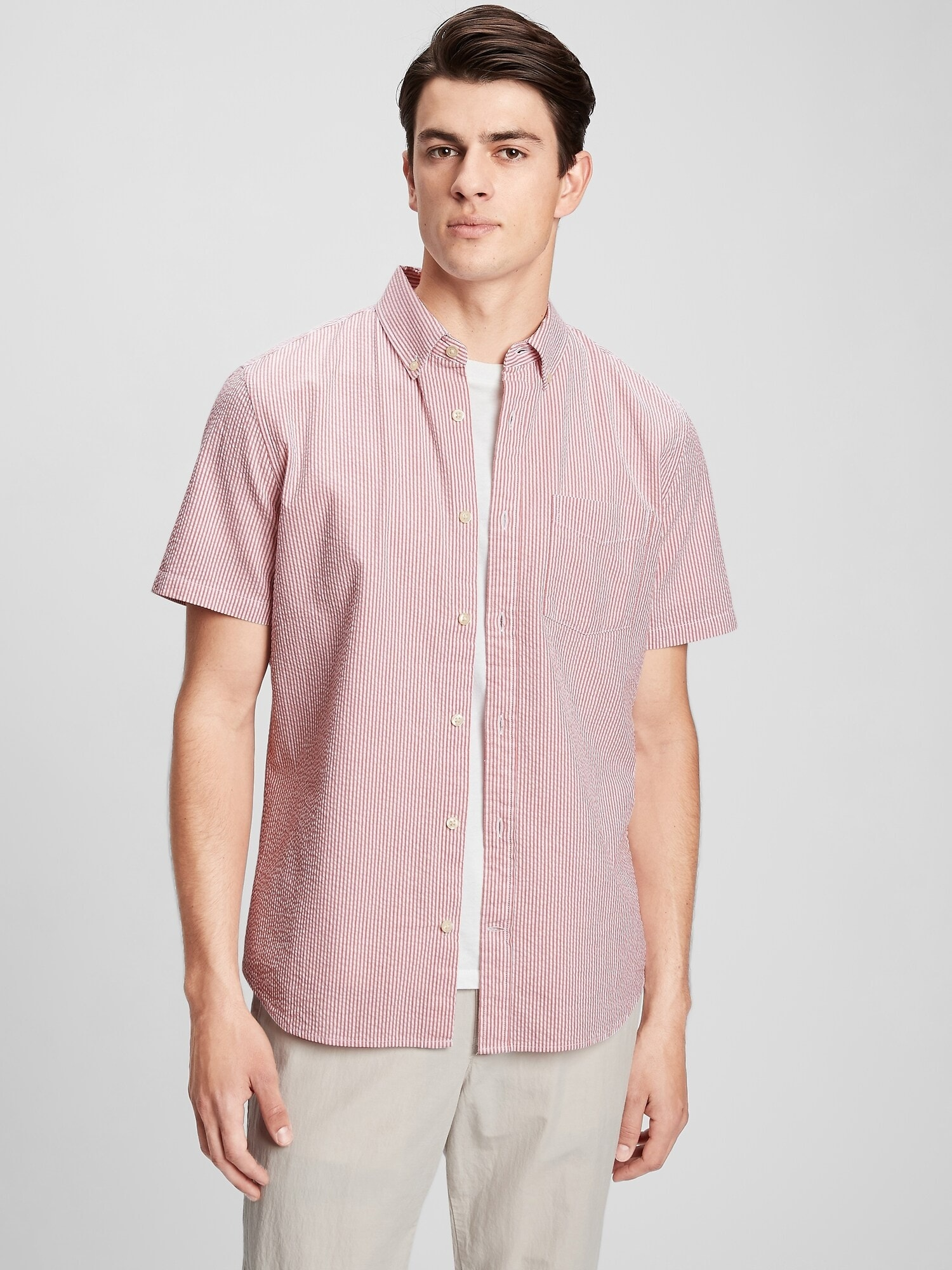 シアサッカー ボタンフロントシャツ