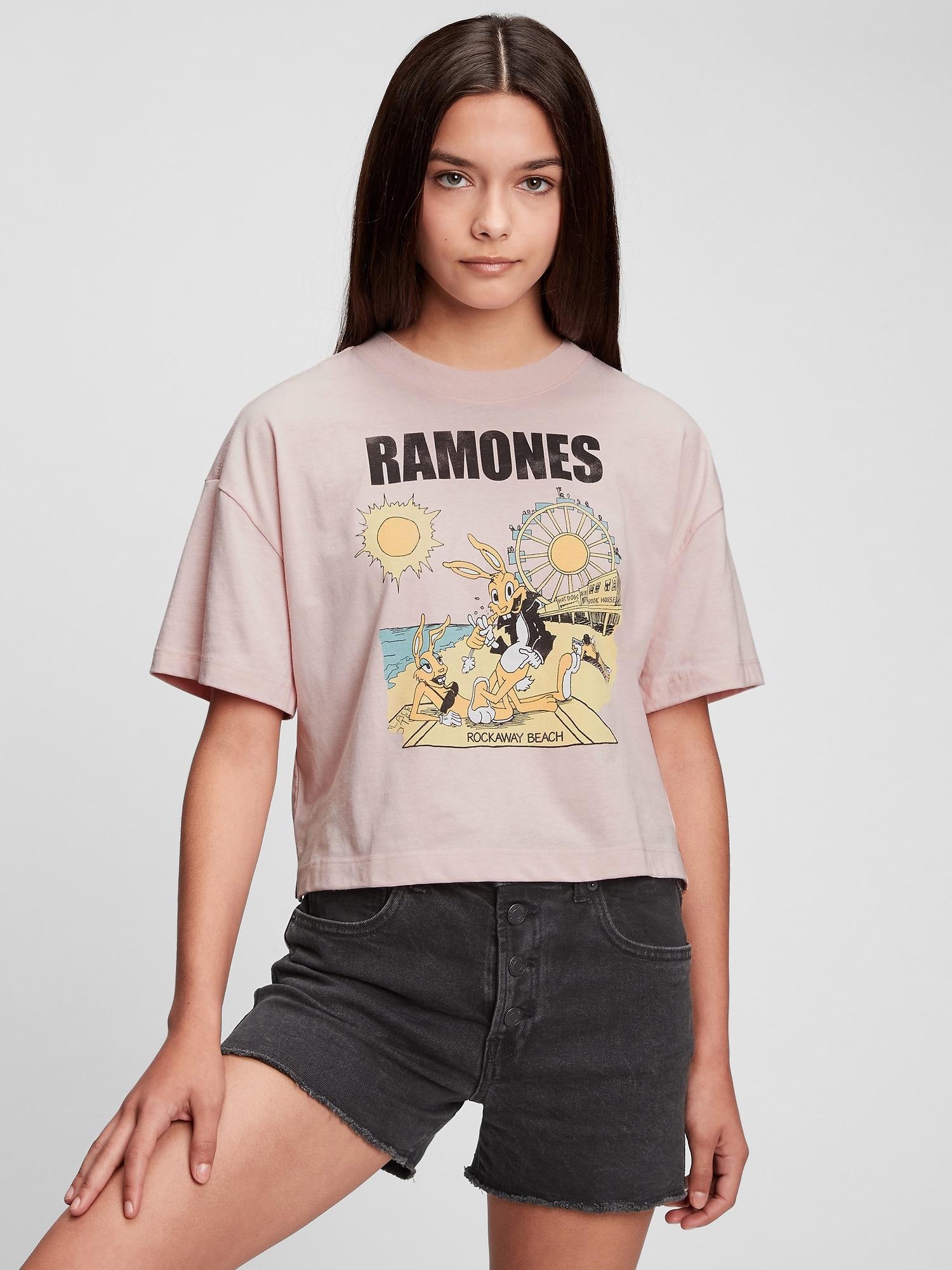 バンドグラフィック ボクシーtシャツ (ギャップティーン)