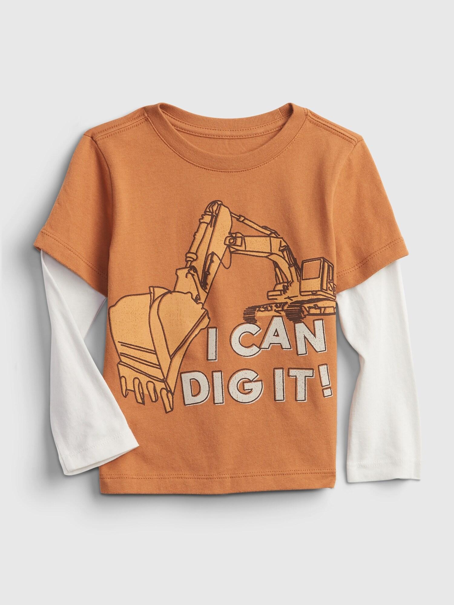 オーガニックコットン100% 2^In-1 グラフィック Tシャツ (幼児)