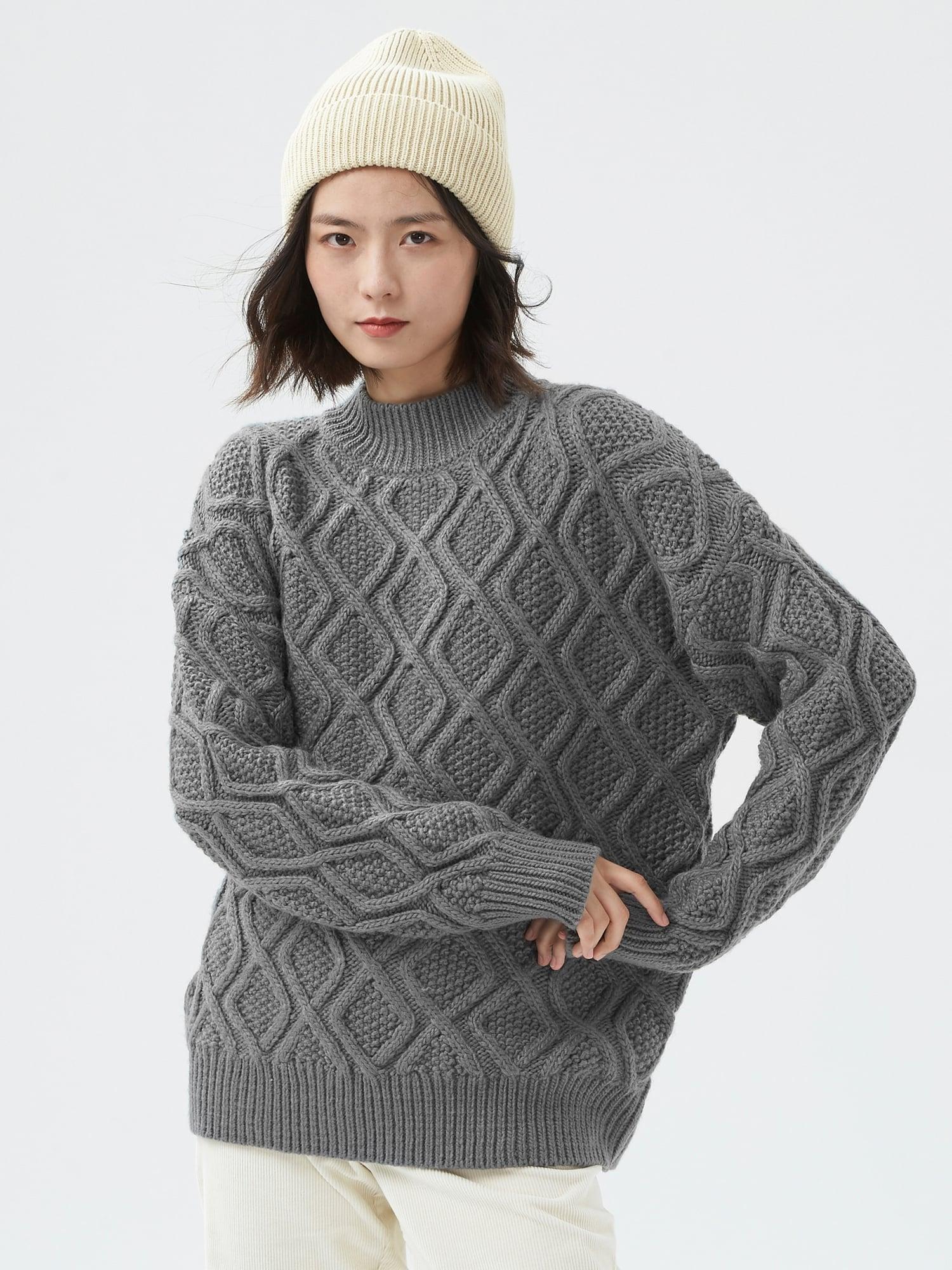 オーバーサイズ ケーブル モックネックセーター