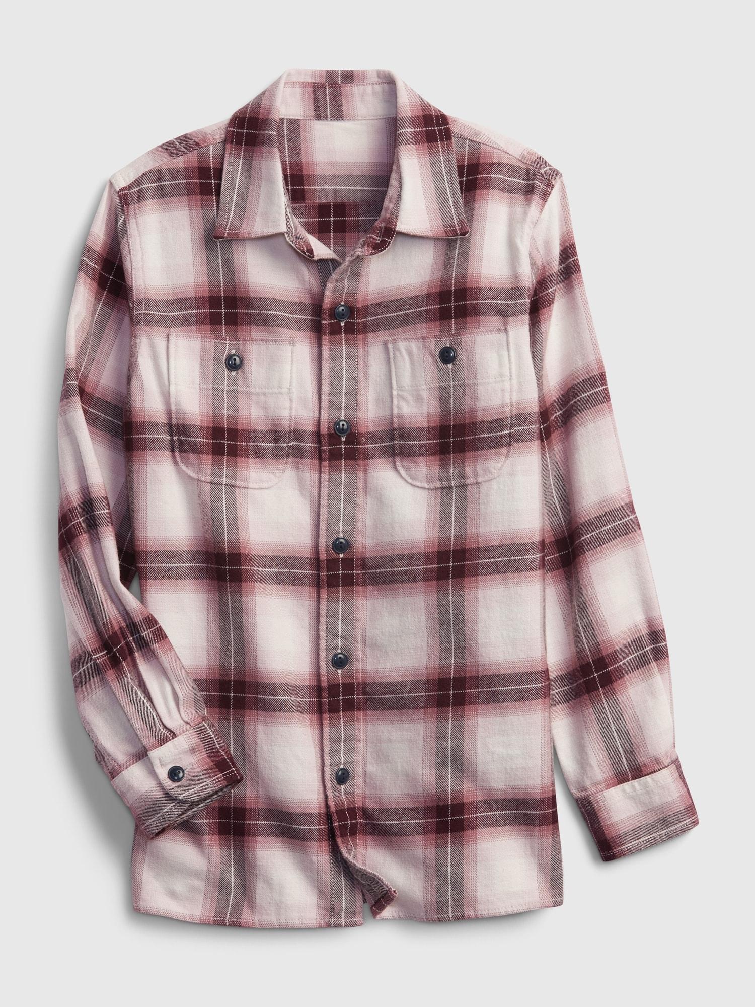 オーガニックコットン100% フランネルシャツ (キッズ)