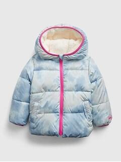 갭 여아용 푸퍼 자켓 GAP Toddler Reversible ColdControl Max Sherpa Puffer Jacket,blue tie dye