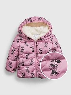 갭 여아용 푸퍼 자켓 babyGap | Disney Minnie Mouse Reversible Sherpa ColdControl Max Puffer Jacket,minnie adorable pink