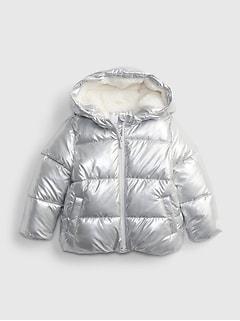 갭 여아용 푸퍼 자켓 GAP Toddler Metallic ColdControl Max Puffer Jacket,silver metallic