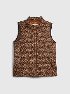 갭 걸즈 푸퍼 조끼 GAP Kids ColdControl Recycled Puffer Vest,leopard print